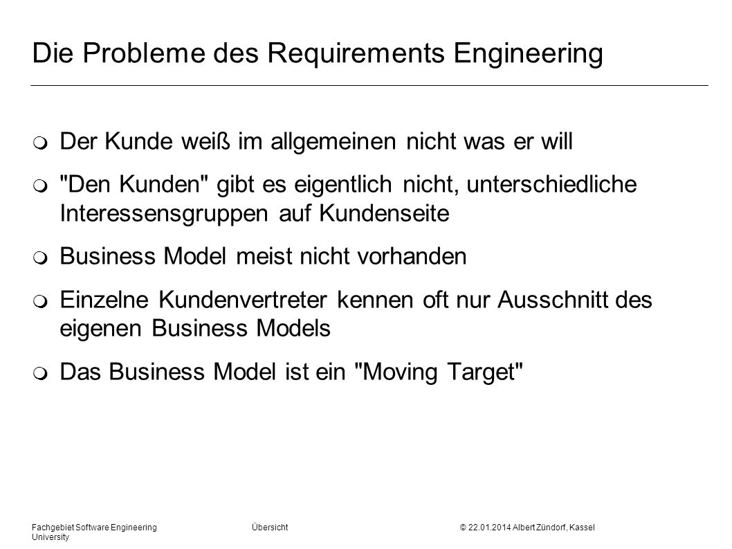 Die Probleme des Requirements Engineering