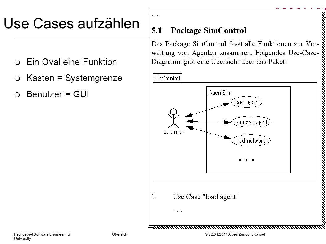Use Cases aufzählen Ein Oval eine Funktion Kasten = Systemgrenze