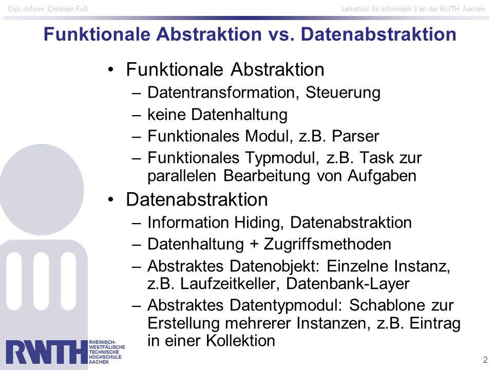 Funktionale Abstraktion vs. Datenabstraktion