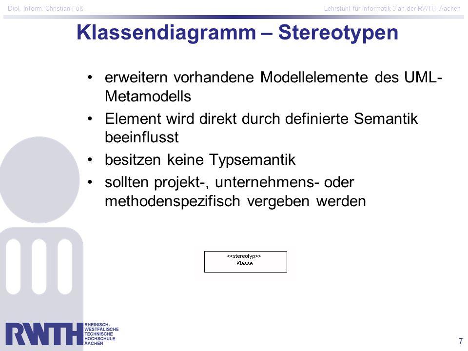 Klassendiagramm – Stereotypen
