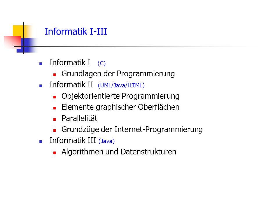 Informatik I-III Informatik I (C) Grundlagen der Programmierung