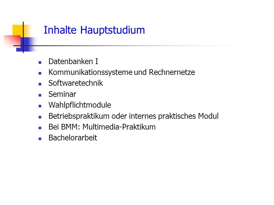 Inhalte Hauptstudium Datenbanken I