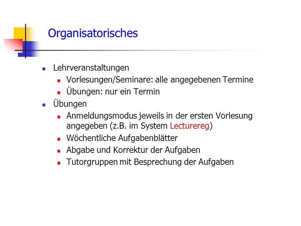 Organisatorisches Lehrveranstaltungen
