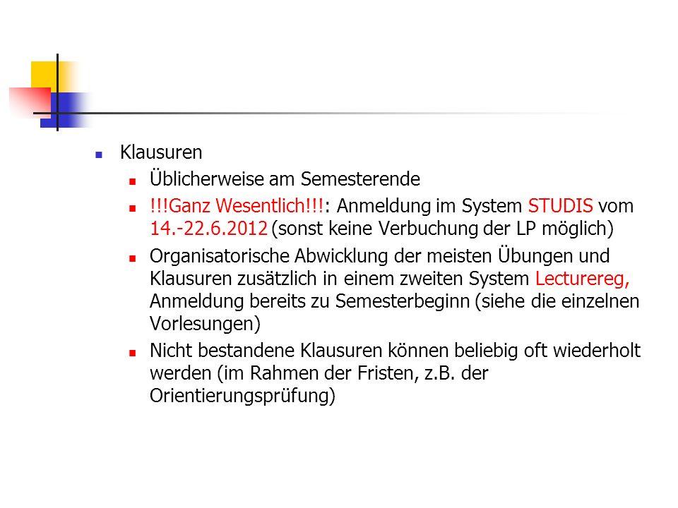 Klausuren Üblicherweise am Semesterende. !!!Ganz Wesentlich!!!: Anmeldung im System STUDIS vom 14.-22.6.2012 (sonst keine Verbuchung der LP möglich)