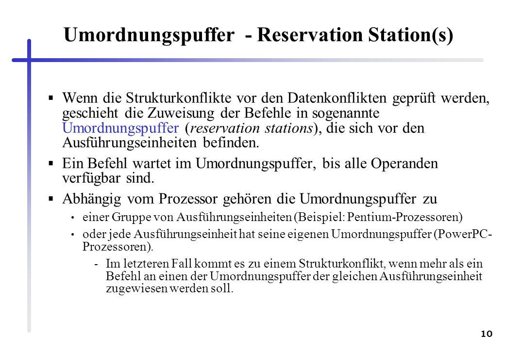 Umordnungspuffer - Reservation Station(s)