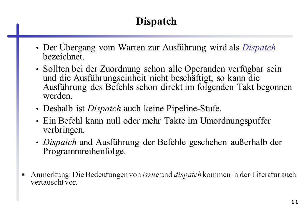 Dispatch Der Übergang vom Warten zur Ausführung wird als Dispatch bezeichnet.