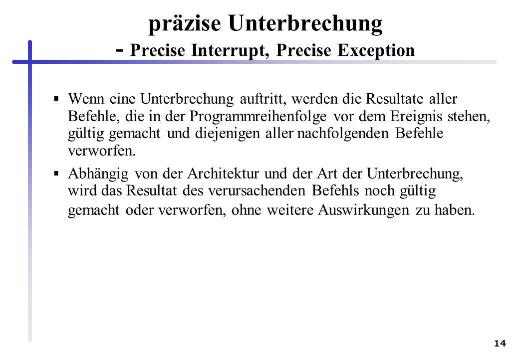 präzise Unterbrechung - Precise Interrupt, Precise Exception