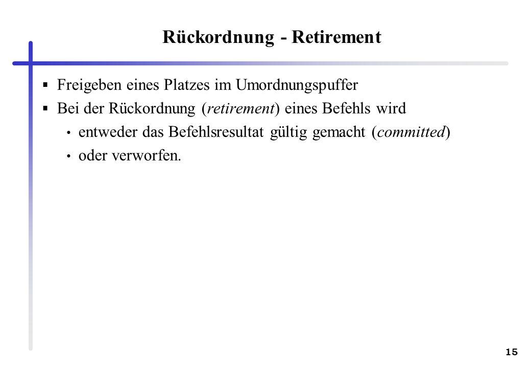 Rückordnung - Retirement