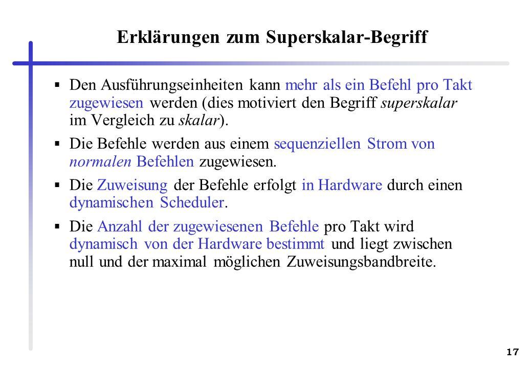 Erklärungen zum Superskalar-Begriff