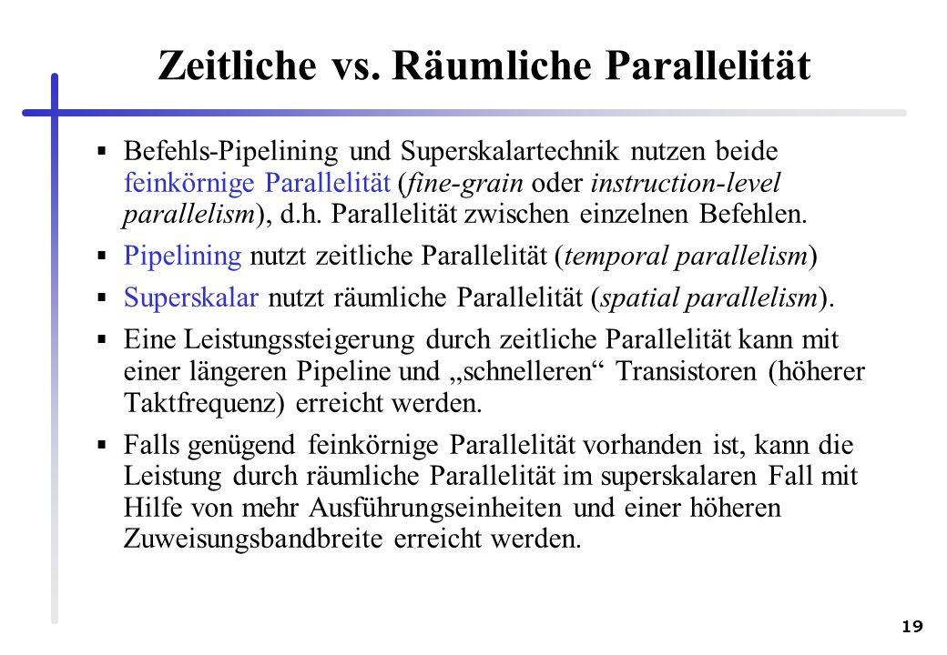 Zeitliche vs. Räumliche Parallelität