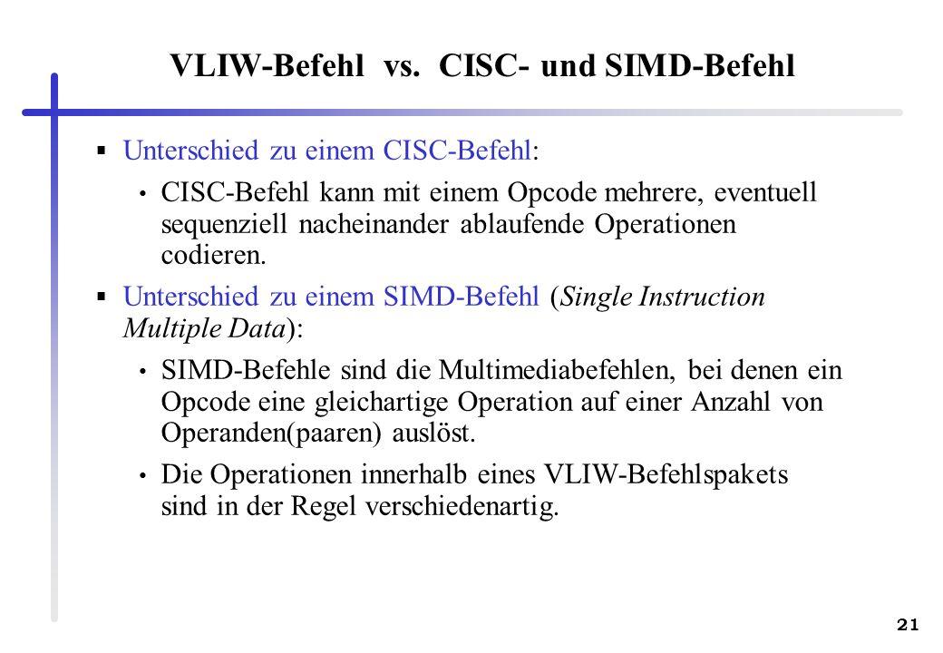 VLIW-Befehl vs. CISC- und SIMD-Befehl
