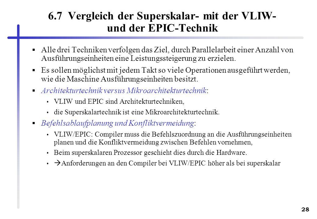 6.7 Vergleich der Superskalar- mit der VLIW- und der EPIC-Technik