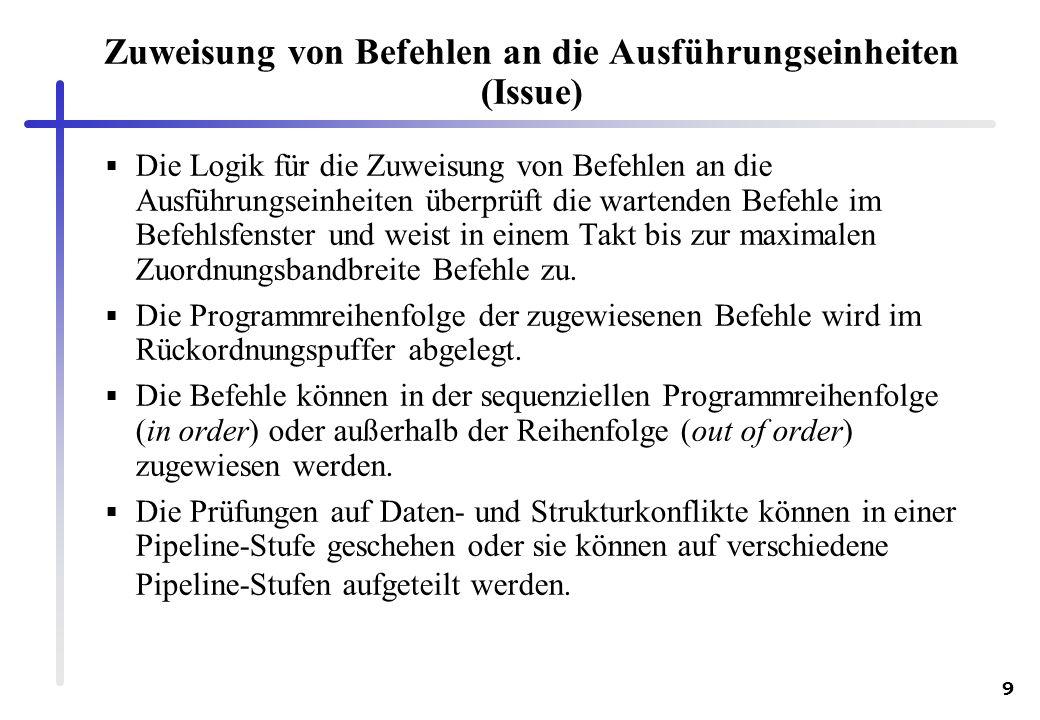 Zuweisung von Befehlen an die Ausführungseinheiten (Issue)