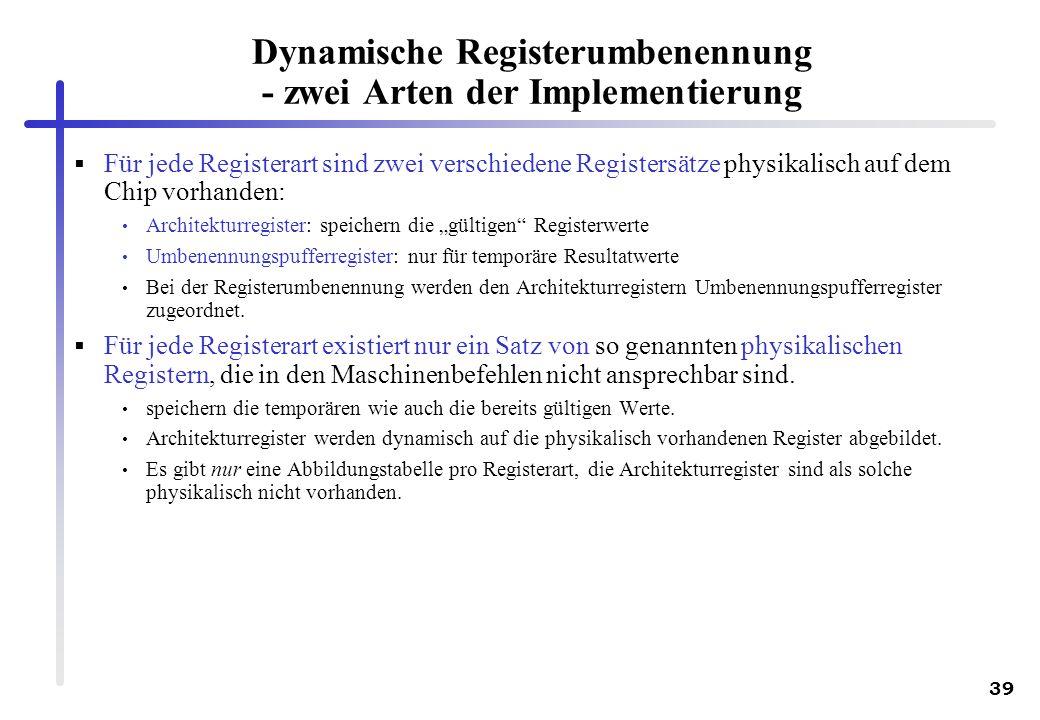 Dynamische Registerumbenennung - zwei Arten der Implementierung