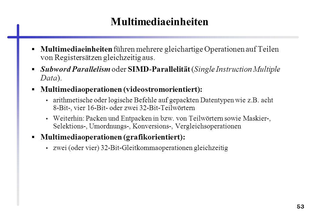 Multimediaeinheiten Multimediaeinheiten führen mehrere gleichartige Operationen auf Teilen von Registersätzen gleichzeitig aus.