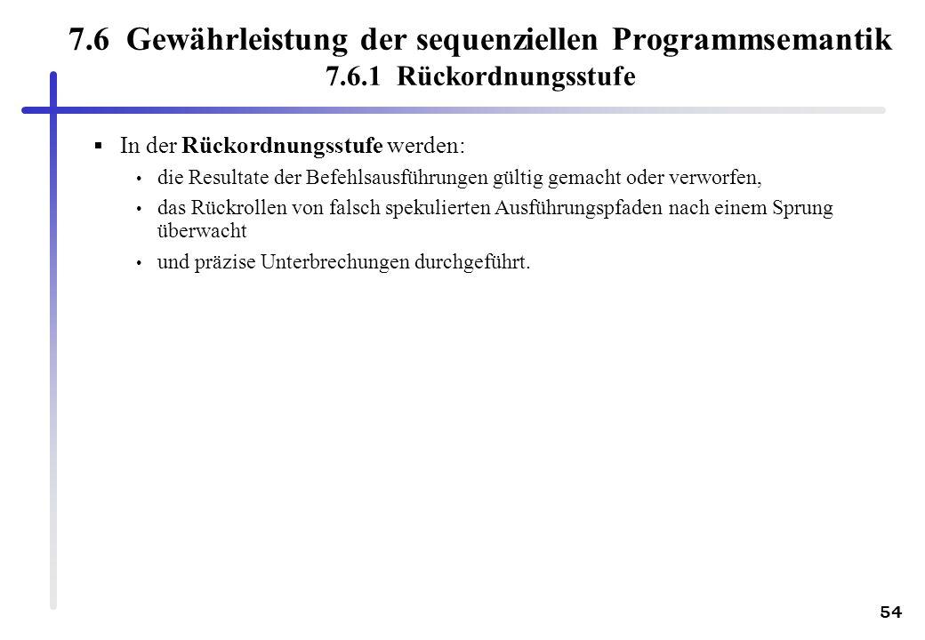 7. 6 Gewährleistung der sequenziellen Programmsemantik 7. 6