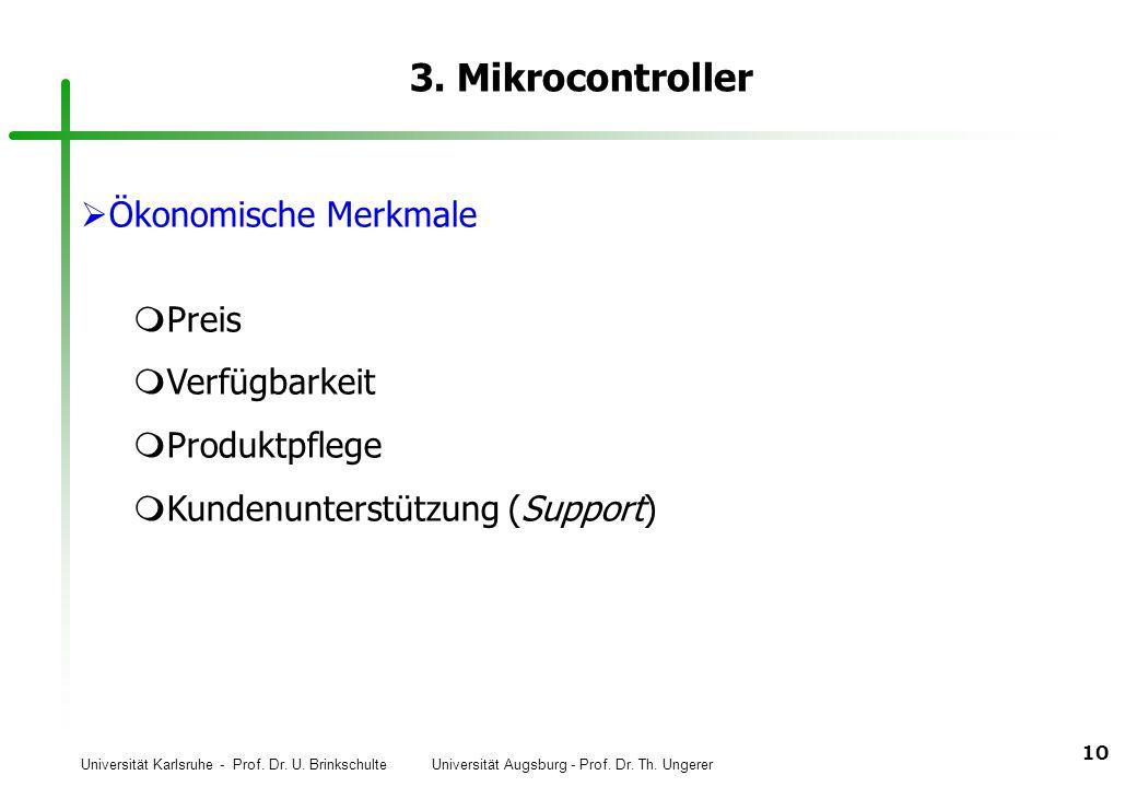 3. Mikrocontroller Ökonomische Merkmale Preis Verfügbarkeit