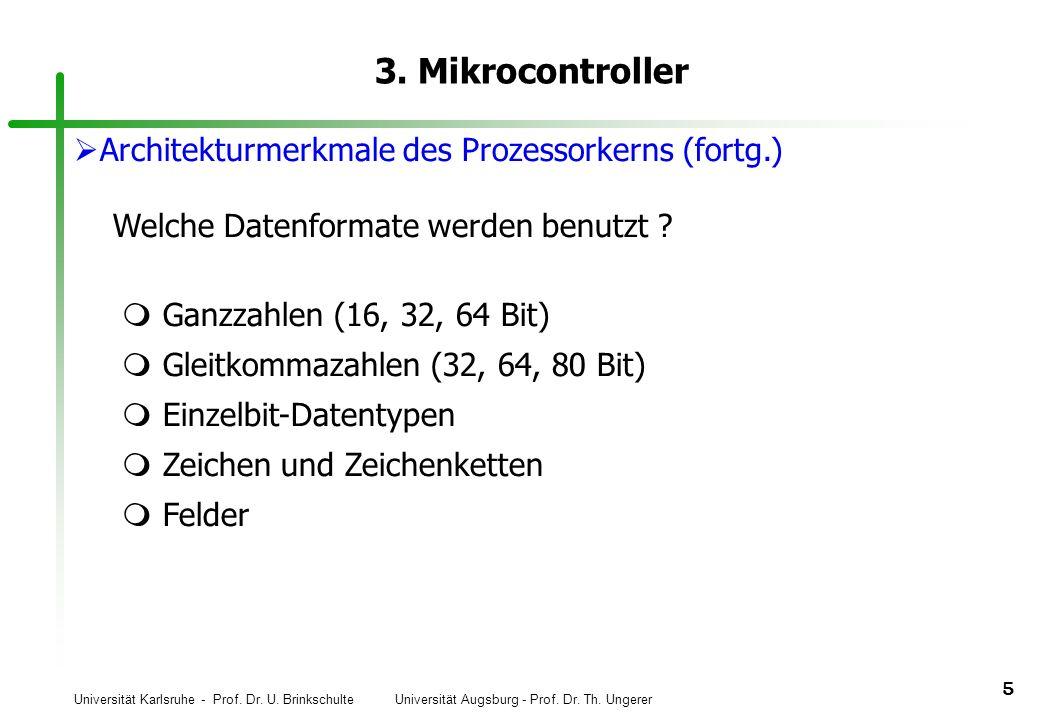 3. Mikrocontroller Architekturmerkmale des Prozessorkerns (fortg.)