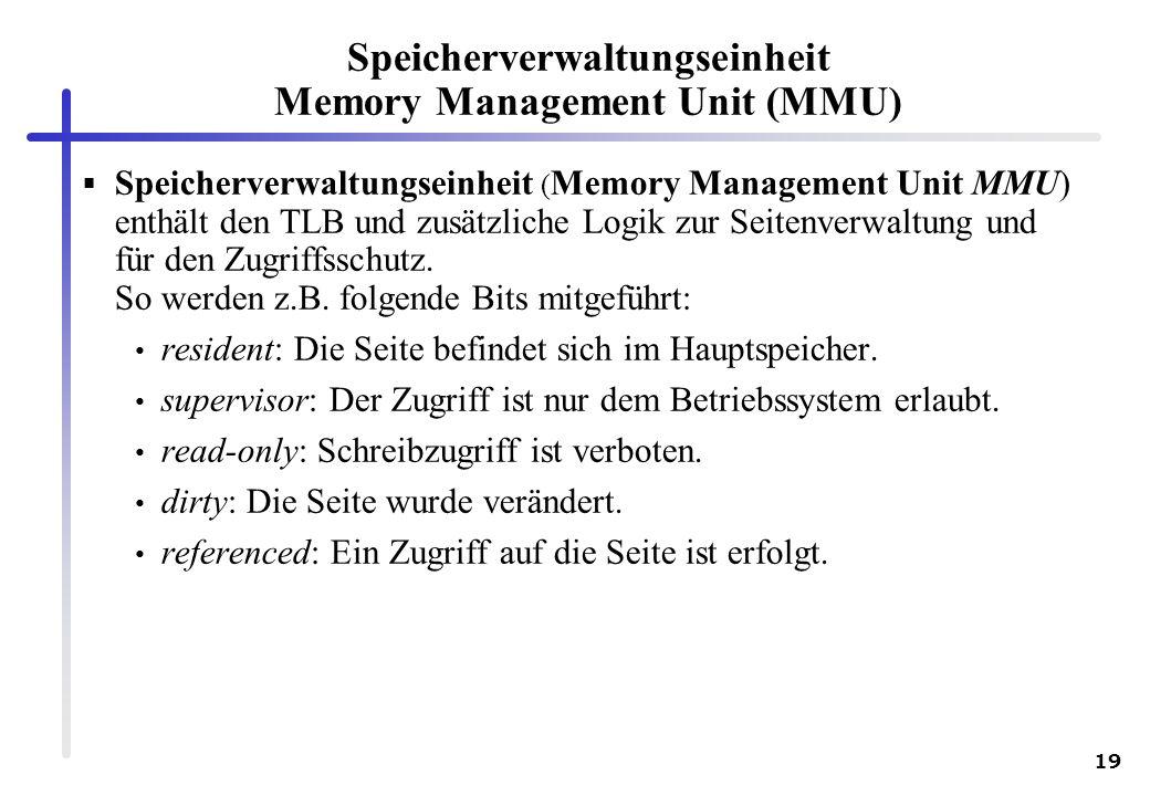 Speicherverwaltungseinheit Memory Management Unit (MMU)