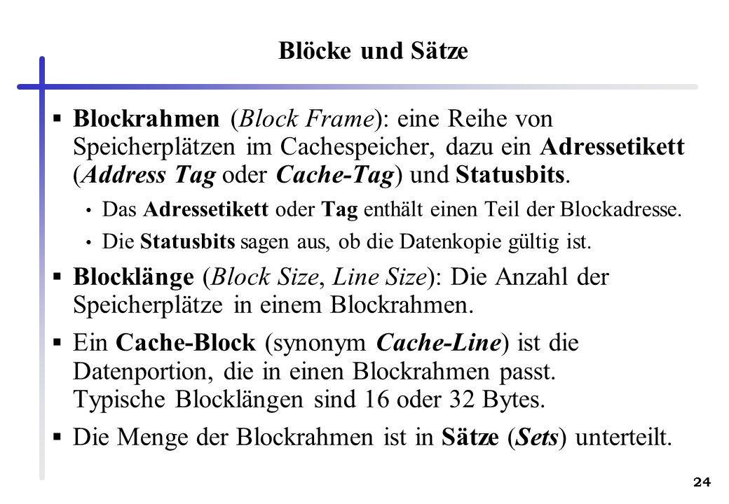 Die Menge der Blockrahmen ist in Sätze (Sets) unterteilt.