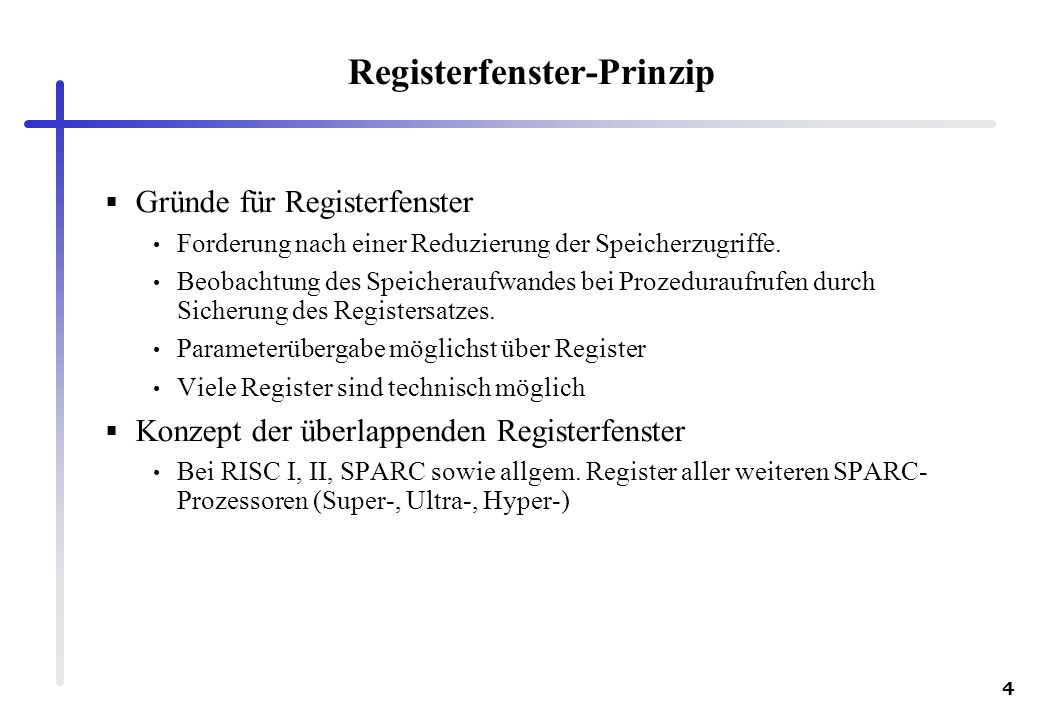 Registerfenster-Prinzip