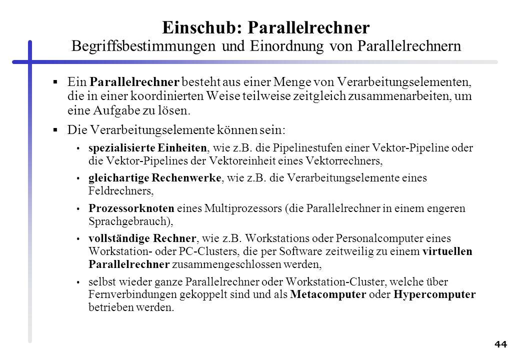 Einschub: Parallelrechner Begriffsbestimmungen und Einordnung von Parallelrechnern