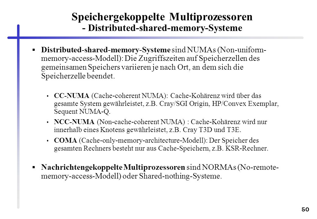 Speichergekoppelte Multiprozessoren - Distributed-shared-memory-Systeme