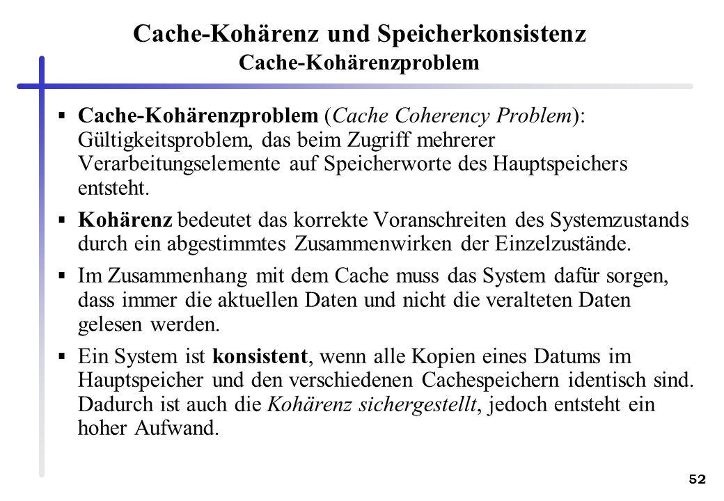 Cache-Kohärenz und Speicherkonsistenz Cache-Kohärenzproblem