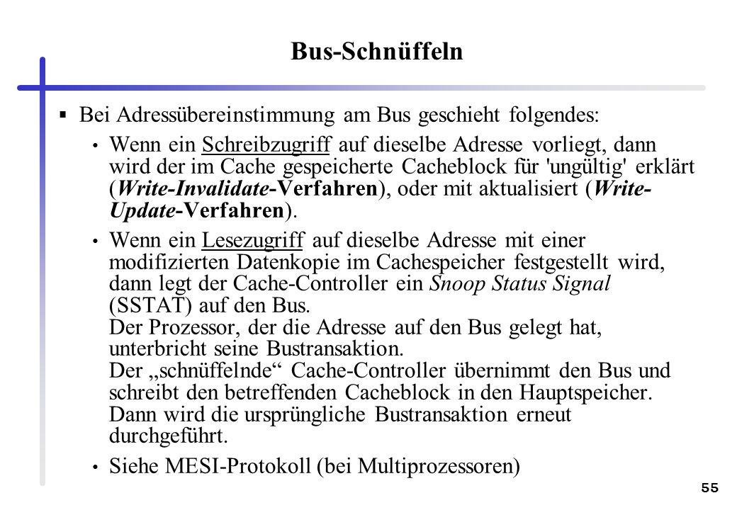 Bus-Schnüffeln Bei Adressübereinstimmung am Bus geschieht folgendes: