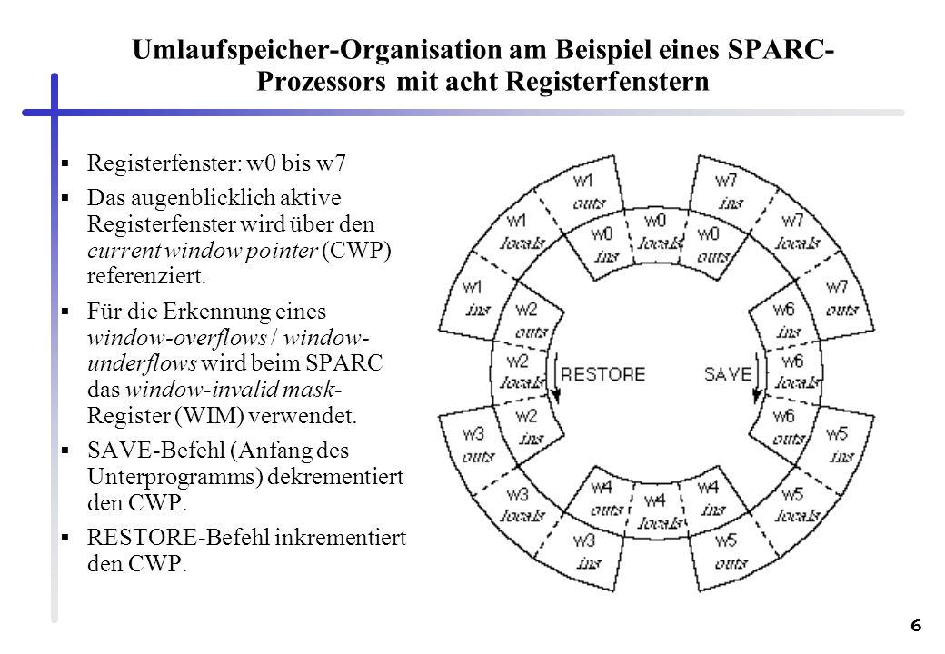 Umlaufspeicher-Organisation am Beispiel eines SPARC-Prozessors mit acht Registerfenstern