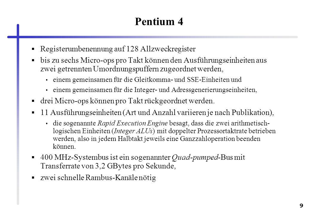 Pentium 4 Registerumbenennung auf 128 Allzweckregister