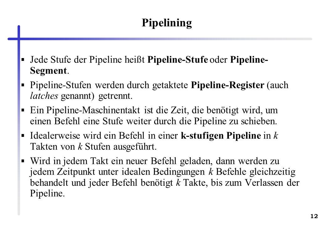 Pipelining Jede Stufe der Pipeline heißt Pipeline-Stufe oder Pipeline-Segment.