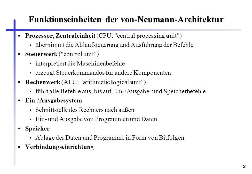 Funktionseinheiten der von-Neumann-Architektur
