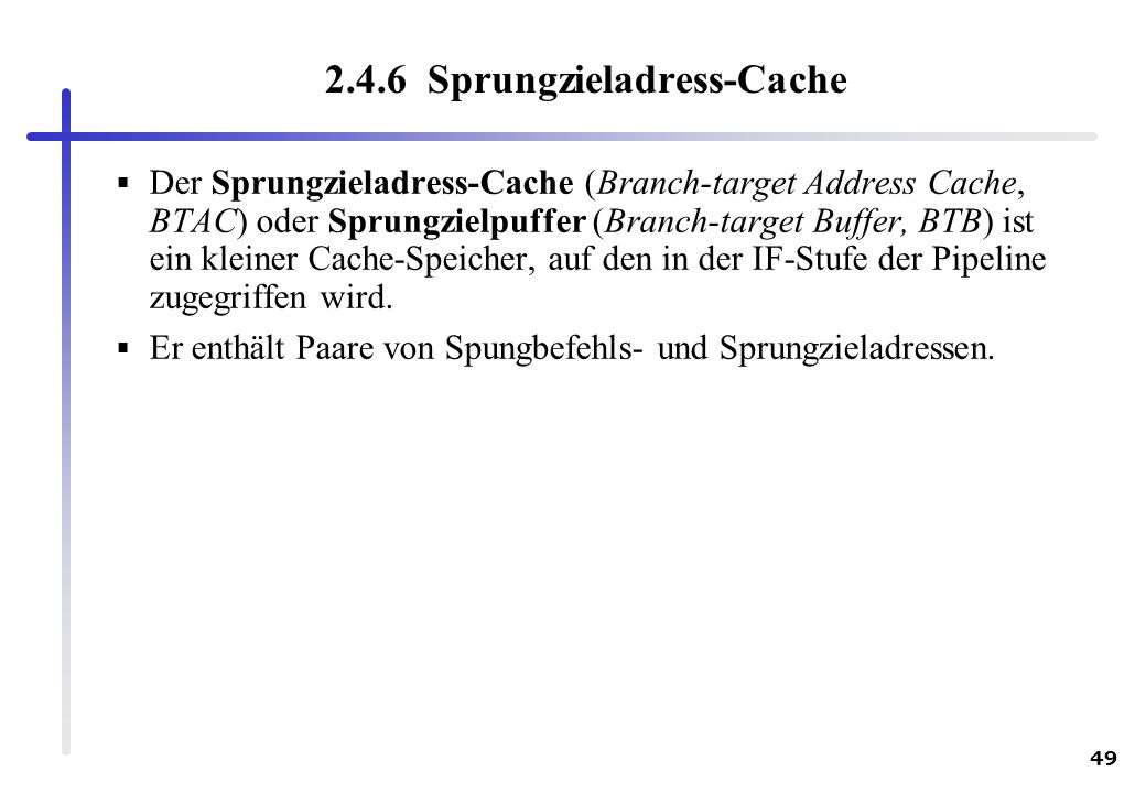 2.4.6 Sprungzieladress-Cache