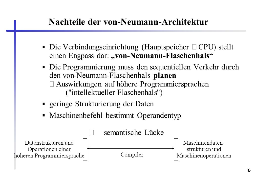 Nachteile der von-Neumann-Architektur