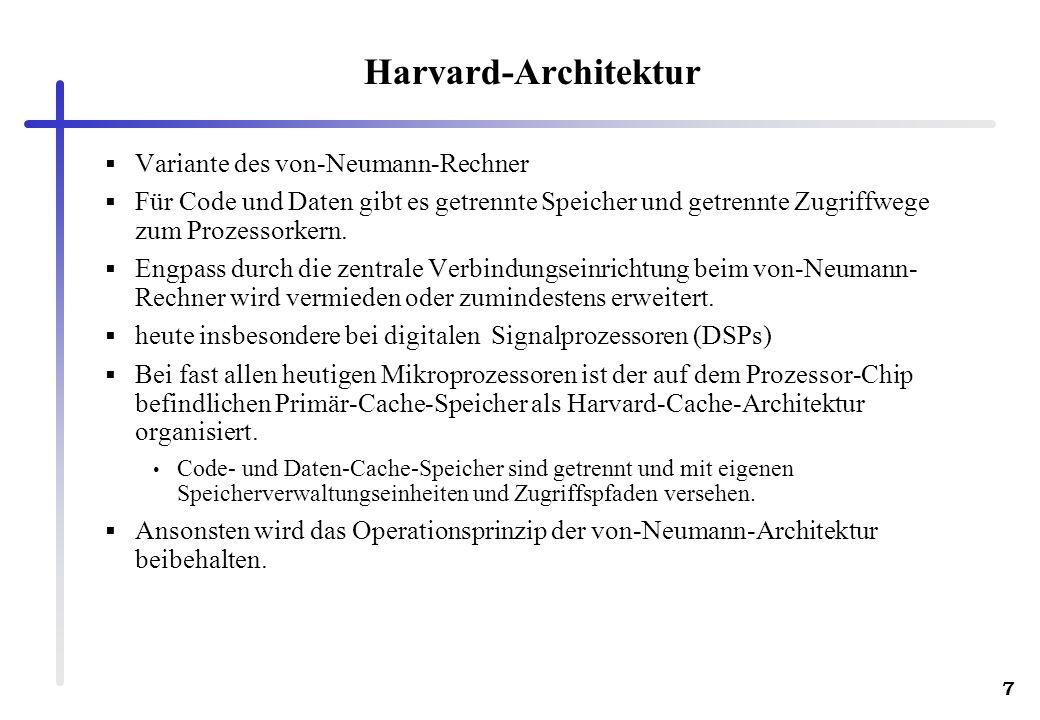 Harvard-Architektur Variante des von-Neumann-Rechner