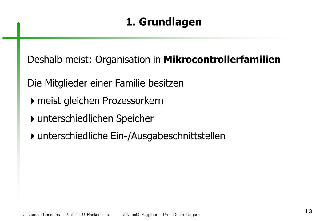 1. Grundlagen Deshalb meist: Organisation in Mikrocontrollerfamilien