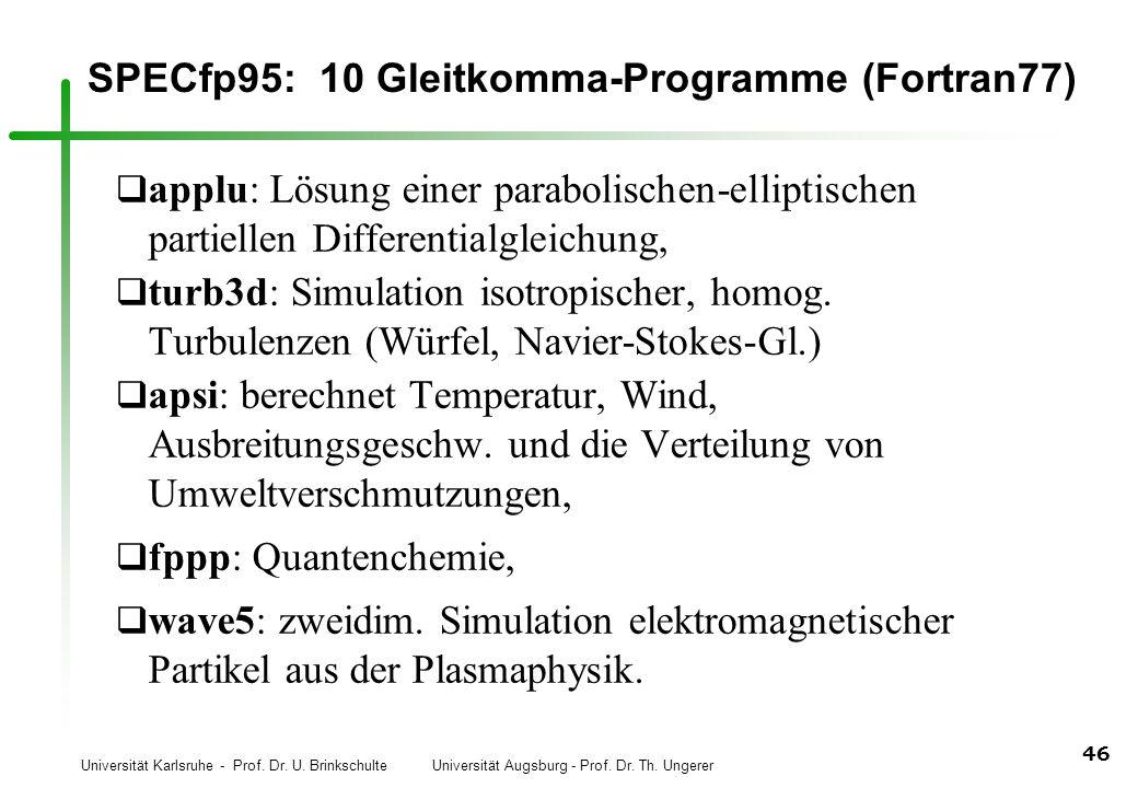 SPECfp95: 10 Gleitkomma-Programme (Fortran77)