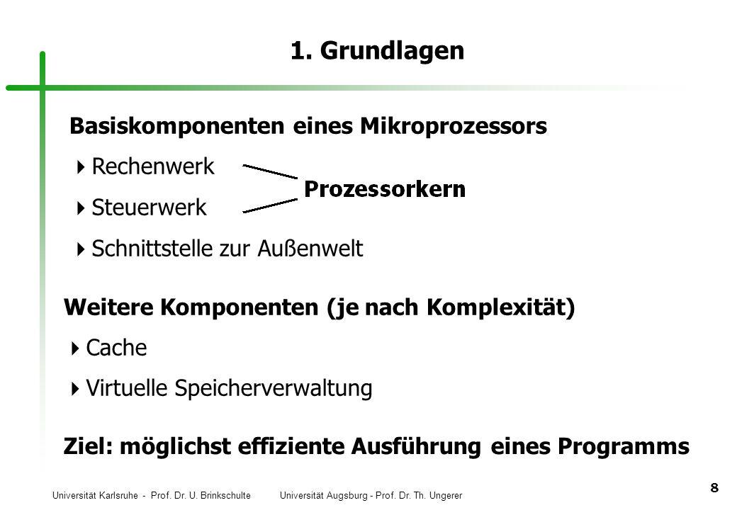 1. Grundlagen Basiskomponenten eines Mikroprozessors Rechenwerk