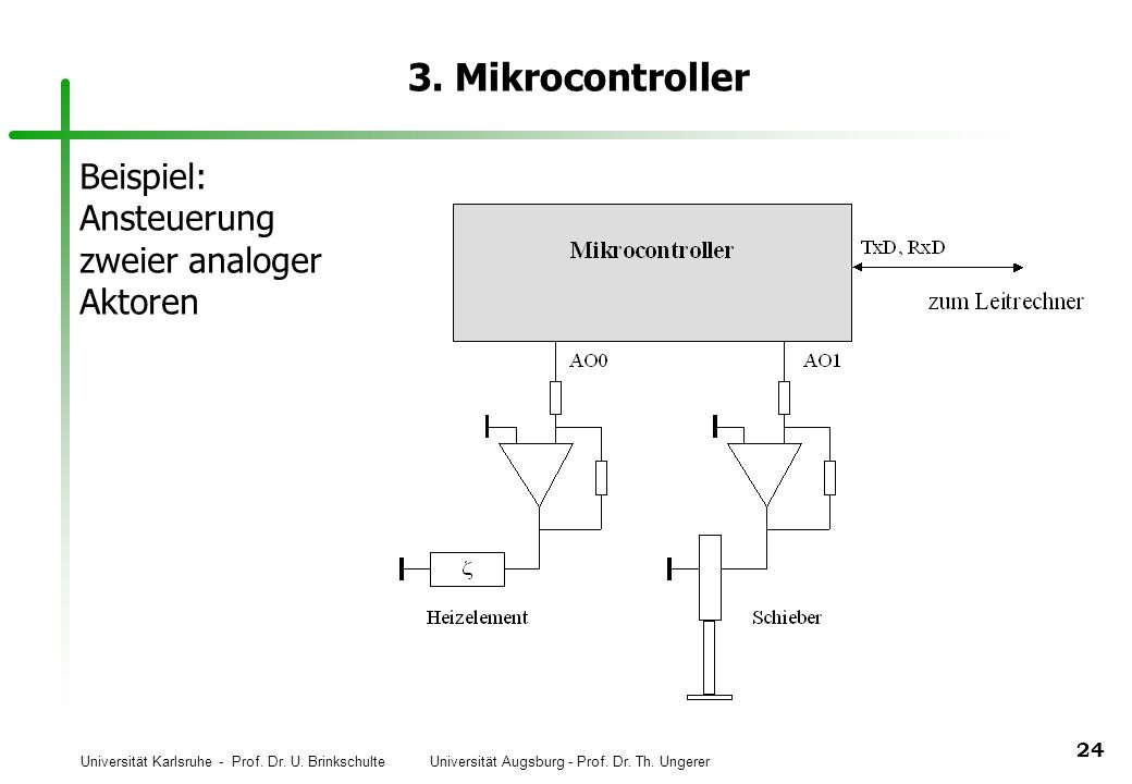 3. Mikrocontroller Beispiel: Ansteuerung zweier analoger Aktoren