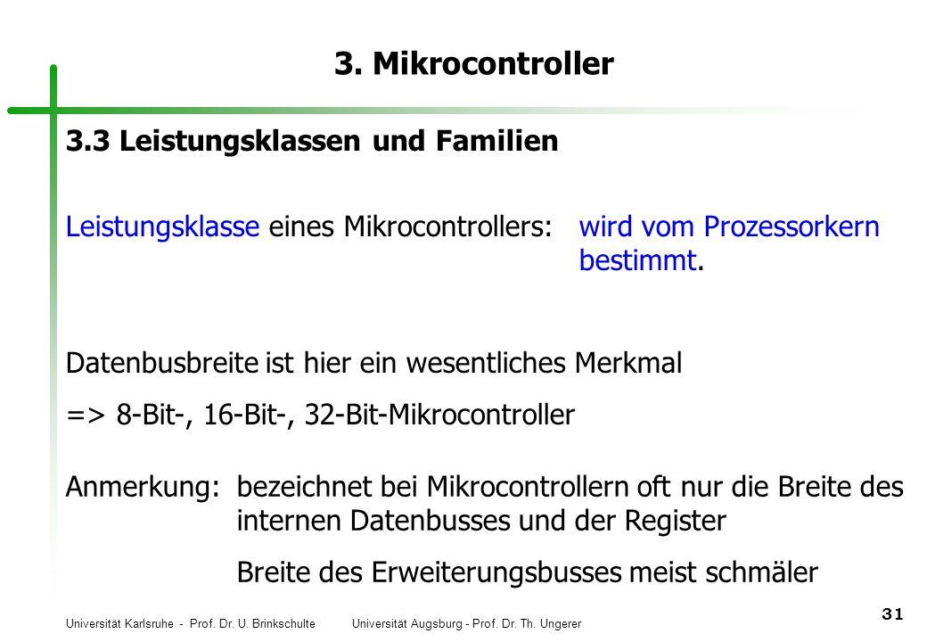 3. Mikrocontroller 3.3 Leistungsklassen und Familien