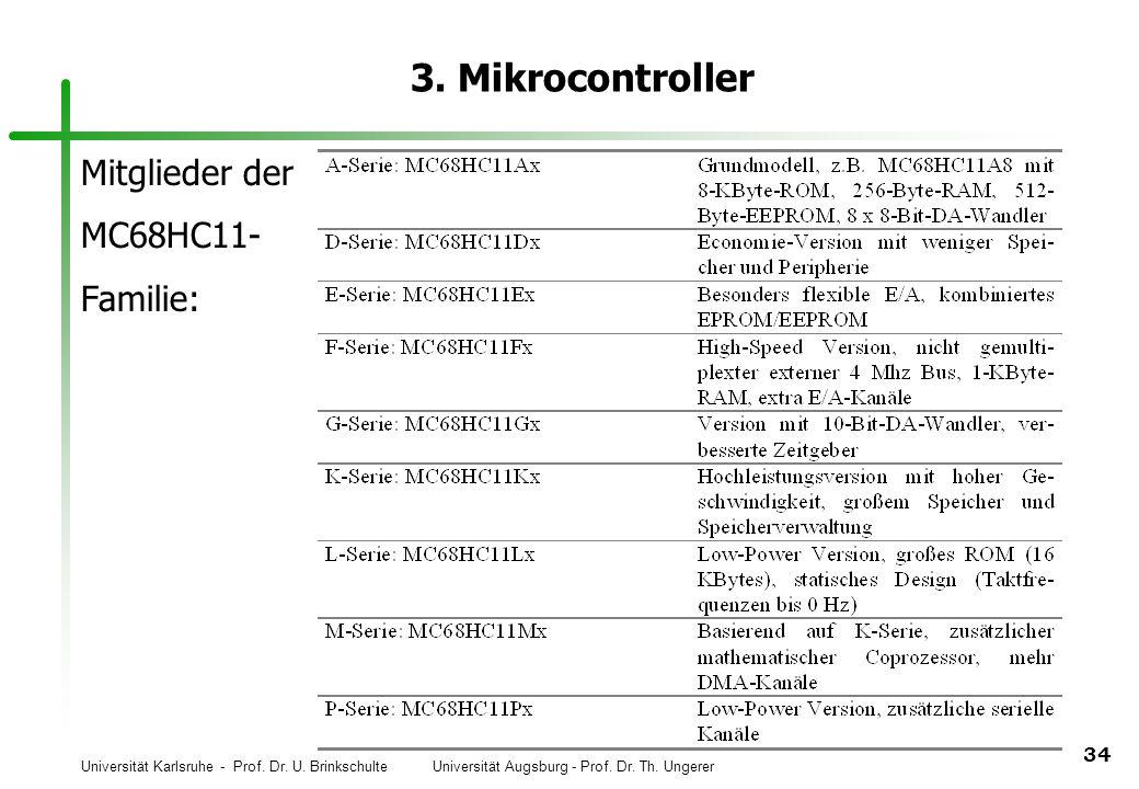 3. Mikrocontroller Mitglieder der MC68HC11- Familie: