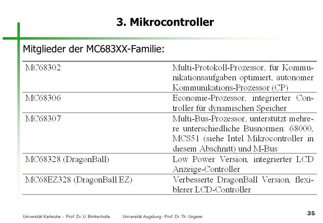 3. Mikrocontroller Mitglieder der MC683XX-Familie: