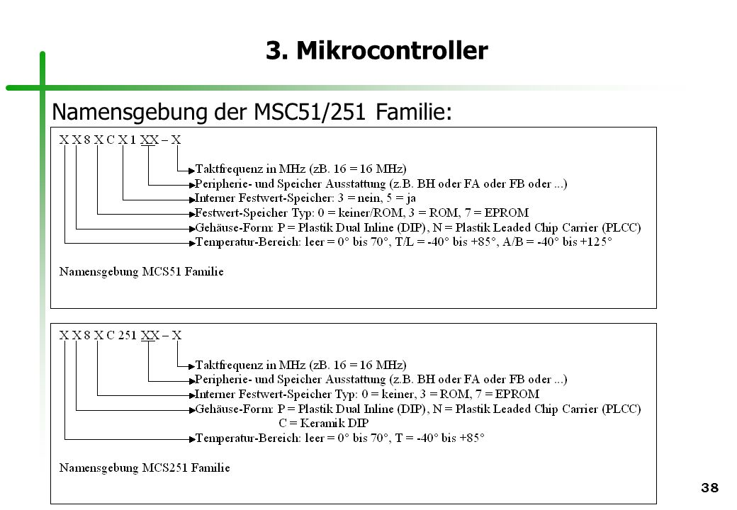 3. Mikrocontroller Namensgebung der MSC51/251 Familie: