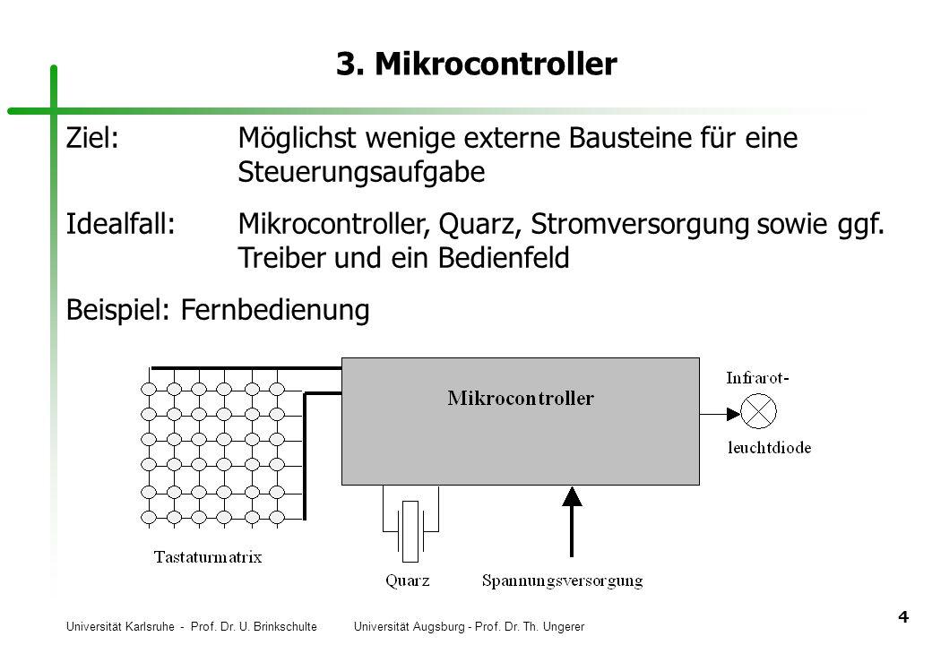 3. Mikrocontroller Ziel: Möglichst wenige externe Bausteine für eine Steuerungsaufgabe.