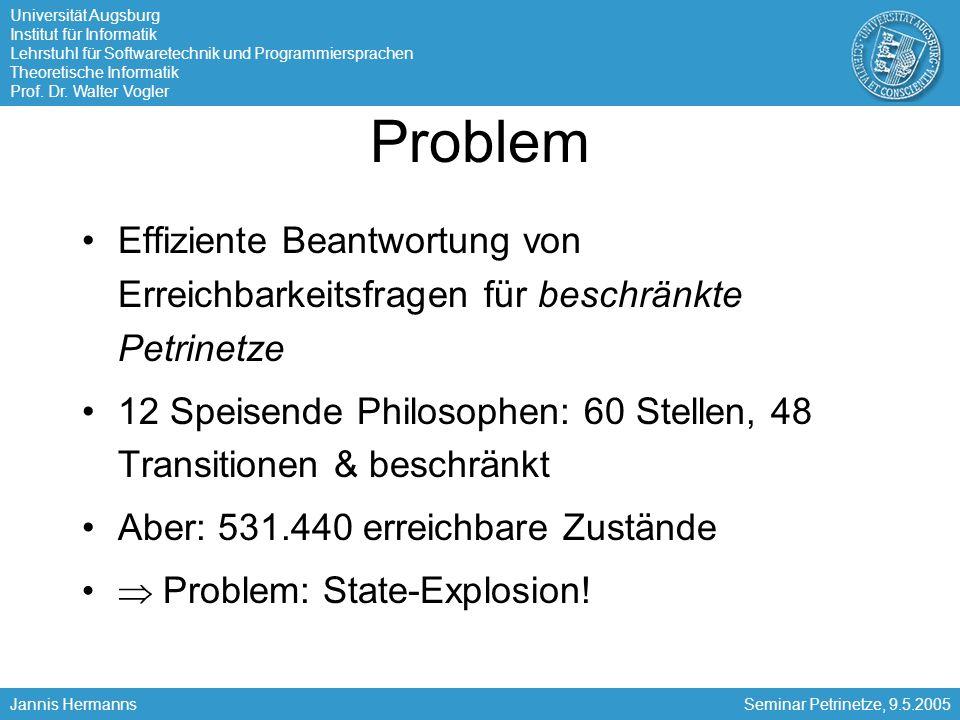 Problem Effiziente Beantwortung von Erreichbarkeitsfragen für beschränkte Petrinetze.