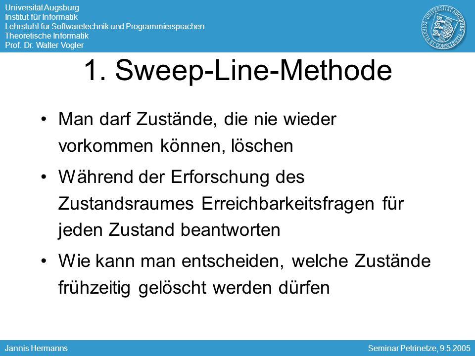 1. Sweep-Line-Methode Man darf Zustände, die nie wieder vorkommen können, löschen.