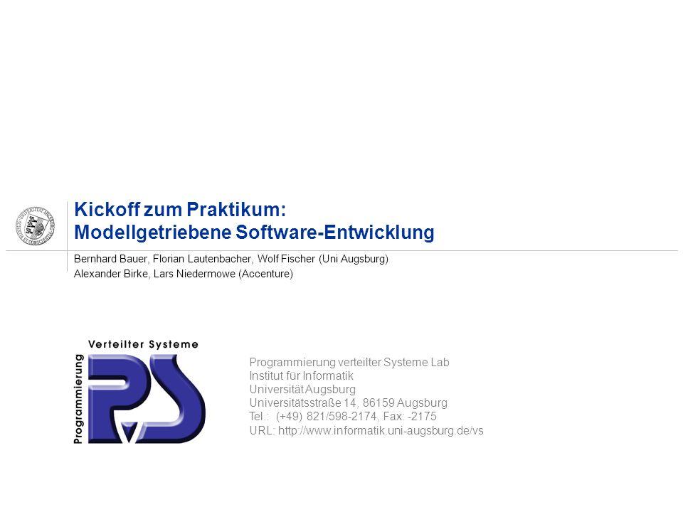 Kickoff zum Praktikum: Modellgetriebene Software-Entwicklung
