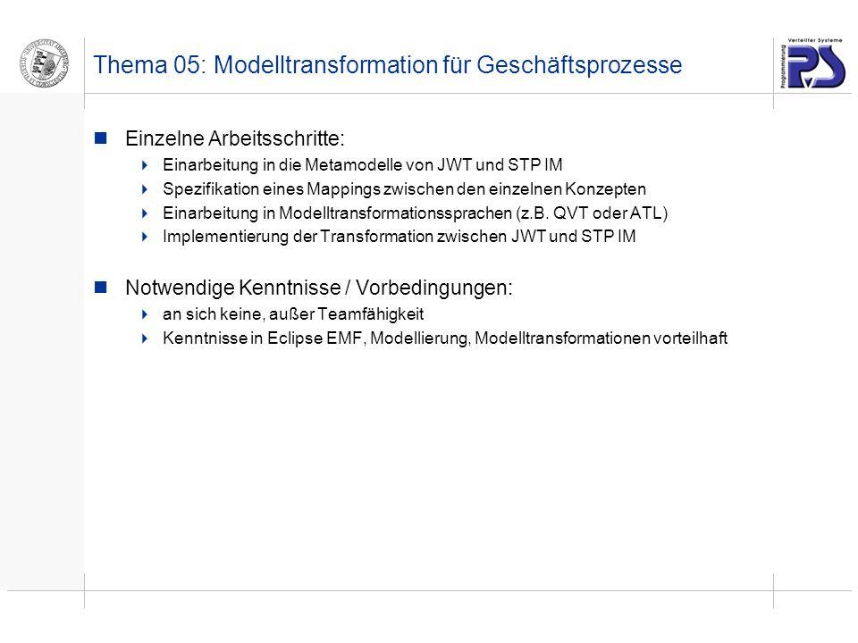 Thema 05: Modelltransformation für Geschäftsprozesse