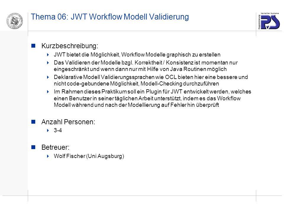 Thema 06: JWT Workflow Modell Validierung